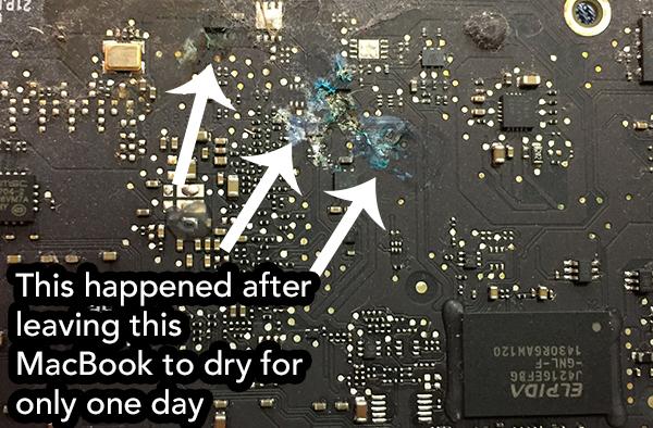 MacBook liquid spill